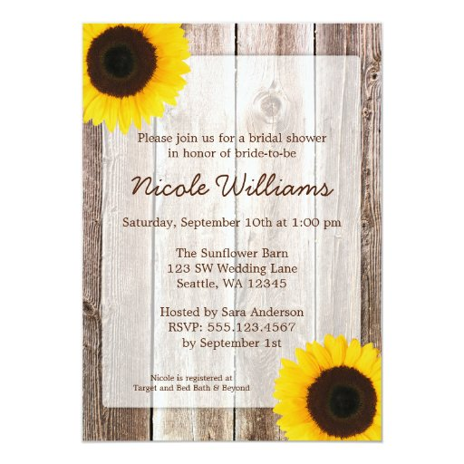 Sunflower Rustic Barn Wood Bridal Shower 5x7 Paper Invitation Card