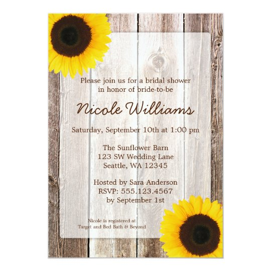 Sunflower Rustic Barn Wood Bridal Shower Card