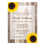 Sunflower Rustic Barn Wood Bridal Shower Personalized Invites