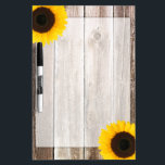 "Sunflower Rustic Barn Wood Dry Erase Board<br><div class=""desc"">A rustic country themed dry erase board featuring barn wood and sunflowers. Easily personalize by adding your own text.</div>"