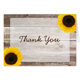 Sunflower Rustic Barn Wood Thank You Stationery Note Card