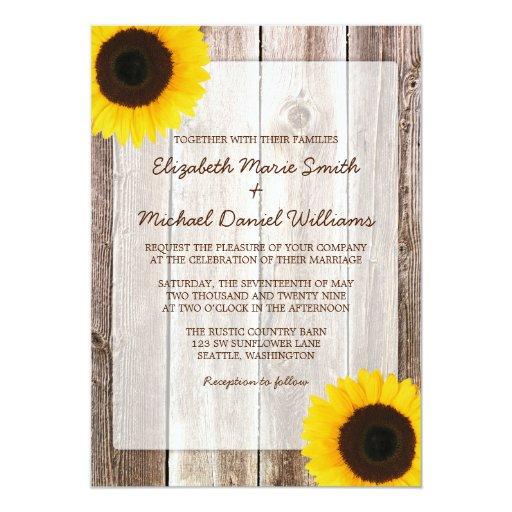 Sunflower Rustic Barn Wood Wedding 5x7 Paper Invitation Card