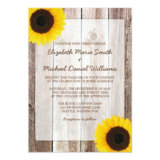 Sunflower Rustic Barn Wood Wedding Card