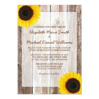Sunflower Rustic Barn Wood Wedding 5x7 Paper Invitation Card (<em>$2.16</em>)