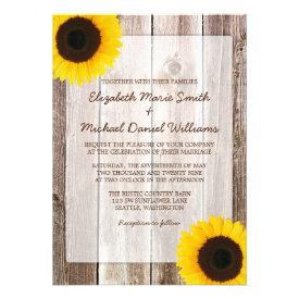 Sunflower Rustic Barn Wood Wedding Invitations Custom Invites