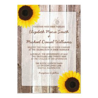 "Sunflower Rustic Barn Wood Wedding Invitations 5"" X 7"" Invitation Card"