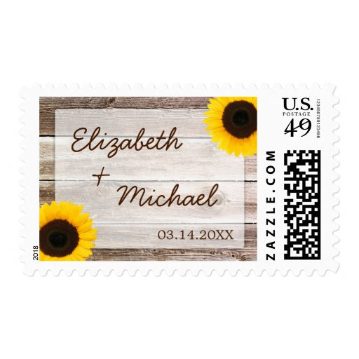 Sunflower Rustic Barn Wood Wedding Stamps