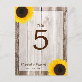 Sunflower Rustic Barn Wood Wedding Table Number postcard