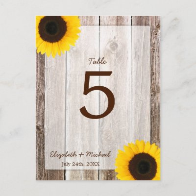 Sunflower Rustic Barn Wood Wedding Table Number Postcards by