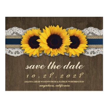 rusticweddings Sunflower Rustic Blue Burlap Save The Date Cards