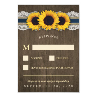 Sunflower Rustic Blue Burlap Wedding RSVP Cards