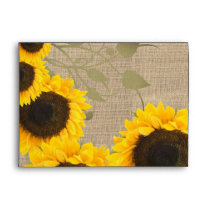 Sunflower Rustic Burlap Farmhouse Envelope