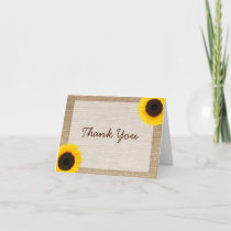 Sunflower Rustic Burlap Thank You