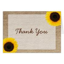 Sunflower Rustic Burlap Thank You Card