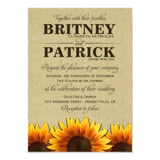 "Sunflower Rustic Burlap Wedding Invitations 4.5"" X 6.25"" Invitation Card"