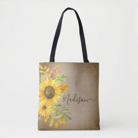 Sunflower Rustic Country Burlap Personalized Name Tote Bag
