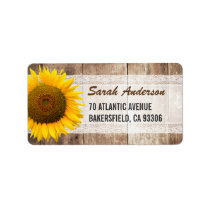 Sunflower Rustic Country Lace Barn Wood Label