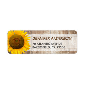 Sunflower Rustic Country Lace Barn Wood RSVP Label