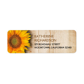 SUNFLOWER RUSTIC COUNTRY RETURN ADDRESS LABELS