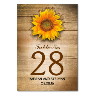 Sunflower Rustic Country Wedding Table Number Card