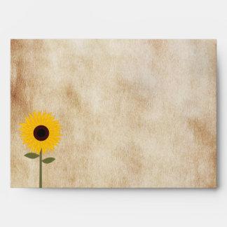 Sunflower Rustic Distressed Paper Look Envelope