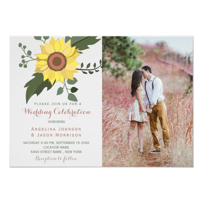 Sunflower Rustic Floral Country Wedding Photo Invitation