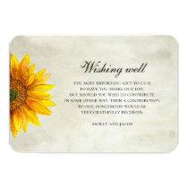 Sunflower. Rustic flower wedding wishing well Card