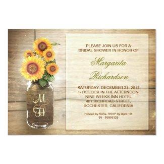 Sunflowers in a Mason Jar Bridal Shower Invitations