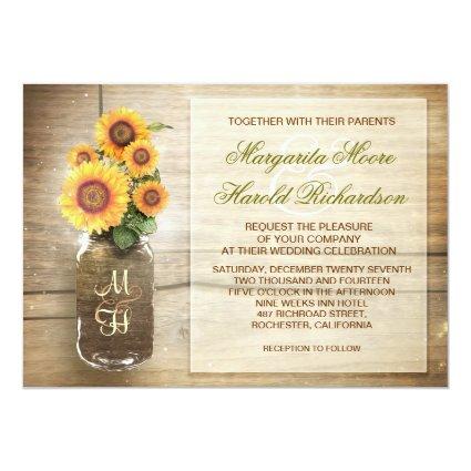 "sunflower rustic mason jar cute wedding invitation 5"" x 7"" invitation card"