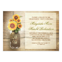 sunflower rustic mason jar engagement party invite