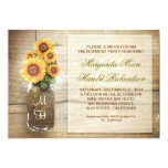 "sunflower rustic mason jar engagement party invite 5"" x 7"" invitation card"