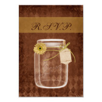 sunflower rustic mason jar rsvp cards 3.5 x 5