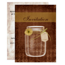 sunflower rustic mason jar wedding invites
