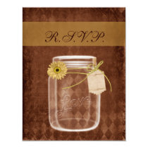 sunflower rustic mason jar wedding rsvp card