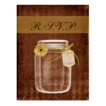 sunflower rustic mason jar wedding rsvp postcard