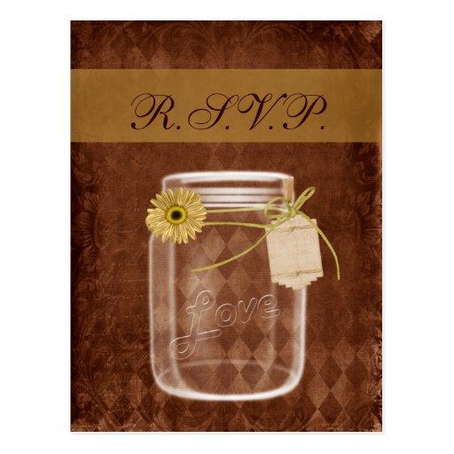 sunflower rustic mason jar wedding rsvp postcard