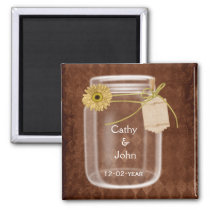 sunflower rustic mason jar wedding save the date magnet