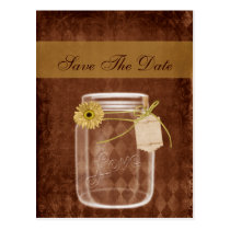 sunflower rustic mason jar wedding save the date postcard