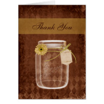 sunflower rustic mason jar wedding thank you card