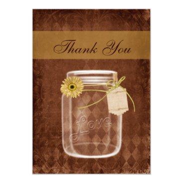 sunflower rustic mason jar wedding thank you card