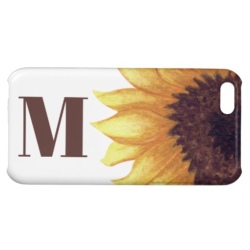 Sunflower Rustic Monogram Yellow White Country Case For iPhone 5C