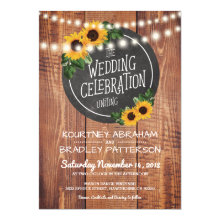 Sunflower Rustic String Lights Wedding Invitations