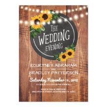 Sunflower Rustic String Lights Wedding Evening
