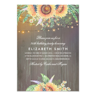 Sunflower Rustic String Lights Wood Birthday Party Card