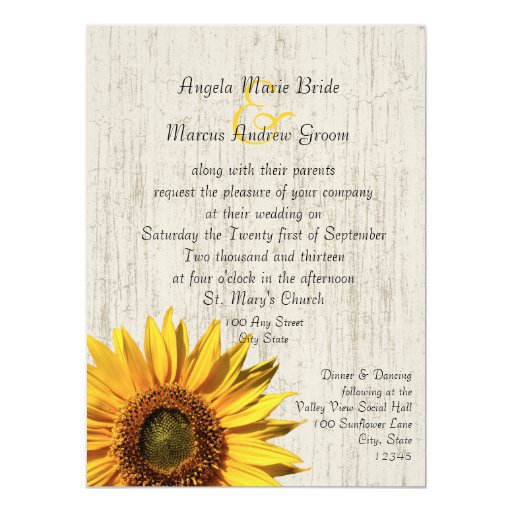 Sunflower Rustic Wedding 5.5x7.5 Paper Invitation Card
