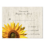 Sunflower Rustic Wedding/ Response 4.25x5.5 Paper Invitation Card