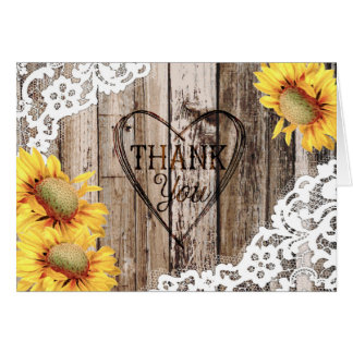 Sunflower Rustic Wood and Lace Thank You Card