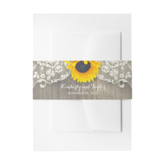 Sunflower Rustic Wood and Lace Wedding Invitation Belly Band