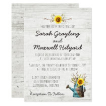 Sunflower & Rustic Wood Farm Wedding Invitation