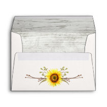 Sunflower & Rustic Wood Farm Wedding Invitation Envelope